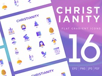 Christianity | 16 Flat Gradient Icons Set