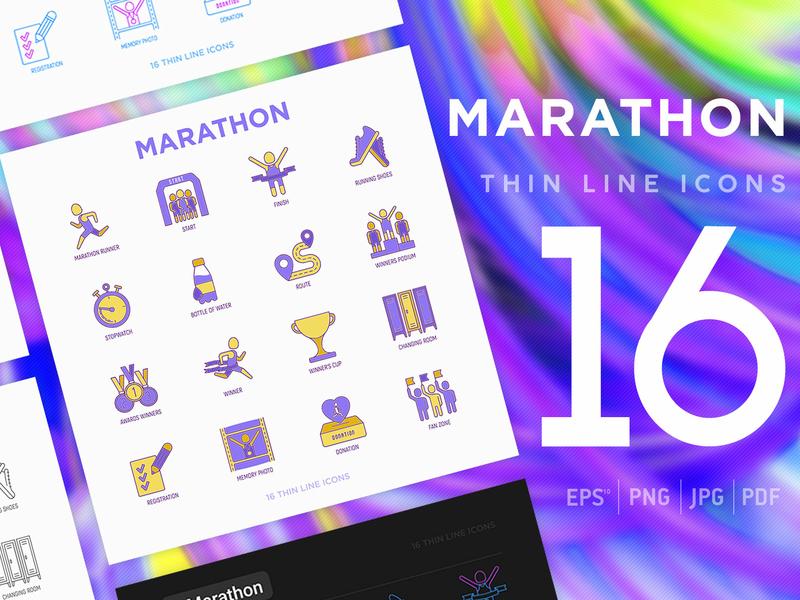 Marathon   16 Thin Line Icons Set victory medal exercise finish training activity winner line people sport illustration set run shoes race runner vector marathon running icon