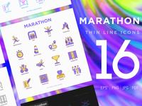 Marathon | 16 Thin Line Icons Set