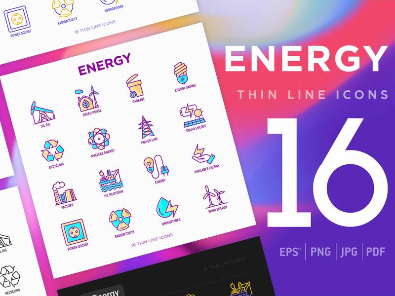 Energy | 16 Thin Line Icons Set gasoline plug factory line bulb station nuclear electric sun wind illustration symbol oil battery vector solar set power icon energy