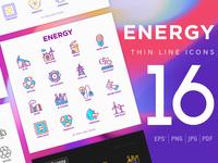 Energy   16 Thin Line Icons Set