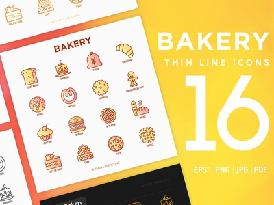 Bakery | 16 Thin Line Icons