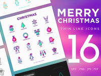 Merry Christmas | 16 Thin Line Icons