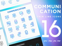 Communication | 16 Thin Line Icons Set