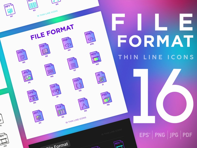 File Format | 16 Thin Line Icons Set pdf js doc eps user css zip application software symbol spreadsheet illustration design set vector document format type icon file