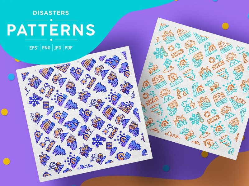 Disasters Patterns Collection thin nature environmental danger wind hurricane tree thunder volcano tsunami background fire illustration earthquake vector natural icon disaster pattern seamless