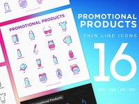 Promotional Products | 16 Thin Line Icons Set