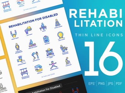 Rehabilitation for disabled | 16 Thin Line Icons Set