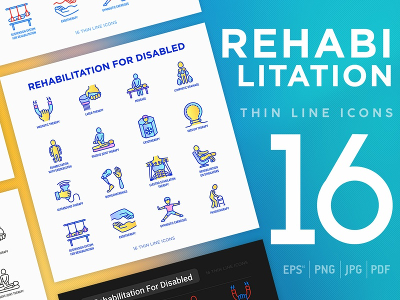 Rehabilitation for disabled | 16 Thin Line Icons Set drainage lymphatic laser magnetic disabled set physiotherapist physical orthopedic massage care health therapy illustration vector medical line physiotherapy rehabilitation icon