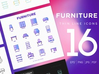 Furniture | 16 Thin Line Icons Set