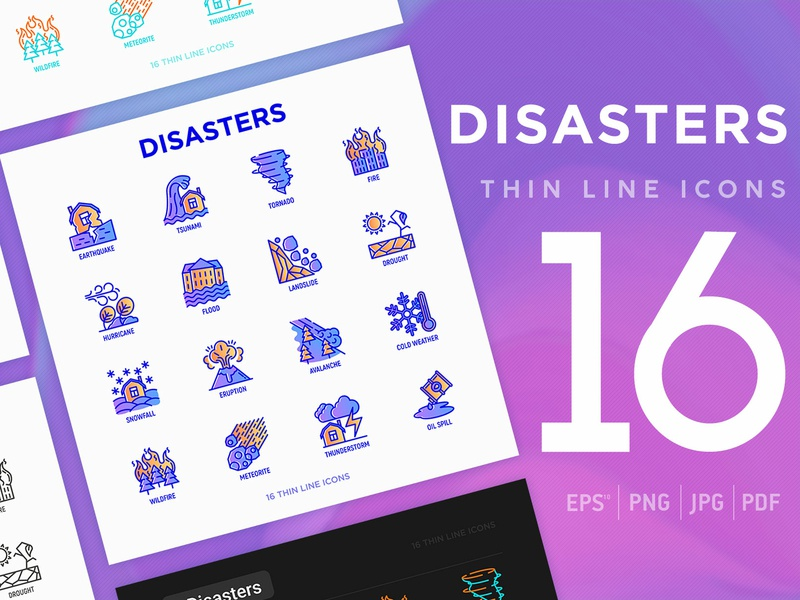Disasters | 16 Thin Line Icons Set thin nature danger wind damaged hurricane thunder volcano snow set storm tsunami fire house illustration earthquake vector natural icon disaster