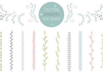 Set of 10 floral brushes