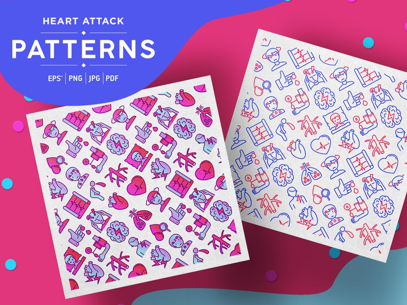 Heart Attack Patterns Collection pain heartbeat cardiology medicine sign medical symptoms chest pulse illustration design line vector disease health icon attack heart pattern seamless