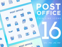 Post Office | 16 Thin Line Icons Set