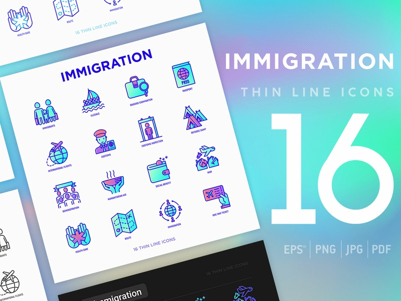 Immigration | 16 Thin Line Icons Set flat line army person political family camp citizenship country collection people symbol travel illustration vector set immigrant refugee immigration icon