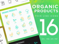 Organic Products | 16 Thin Line Icons Set