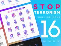 Stop Terrorism | 16 Thin Line Icons Set