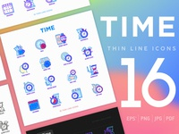 Time | 16 Thin Line Icons Set