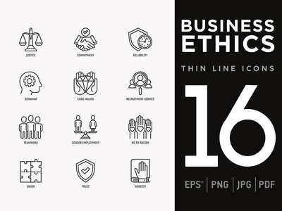 Business Ethics | 16 Thin Line Icons Set