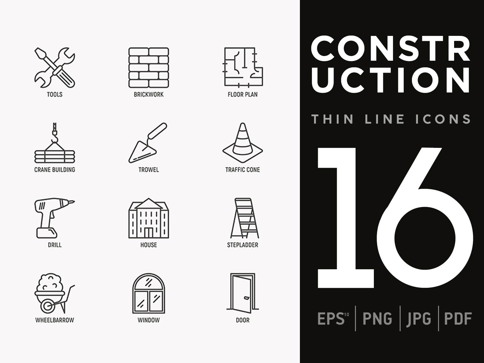 Construction | 16 Thin Line Icons Set helmet drill engineering collection equipment sign house symbol builder illustration crane set vector repair home tools line building icon construction