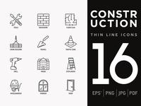 Construction | 16 Thin Line Icons Set