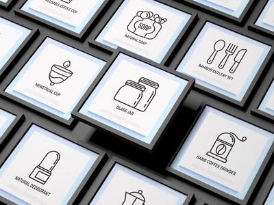 Zero Waste   16 Thin Line Icons Set