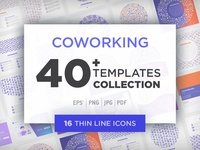Coworking Collection / 40 Templates / 16 Icons / 4 Patterns