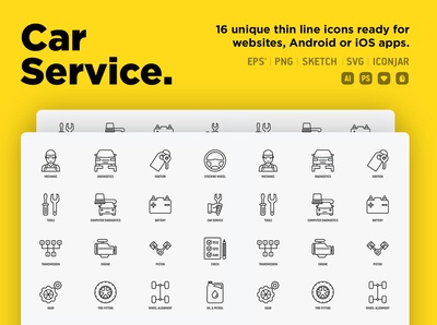 Car Service | 16 Thin Line Icons Set