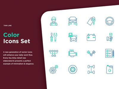 Car Service | 16 Thin Line Icons Set