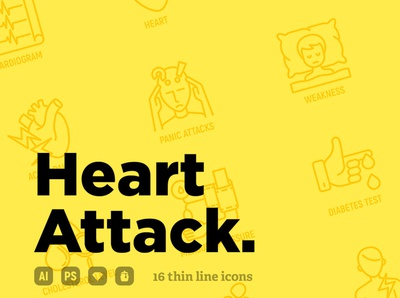 Heart Attack | 16 Thin Line Icons Set