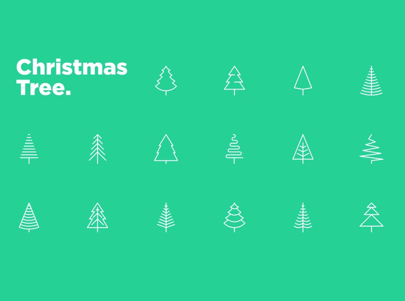 Christmas Tree | 16 Thin Line Icons Set nature decoration season greeting element fir-tree set xmas winter simple minimalistic sign greeting card symbol collection celebration christmas holiday tree icon