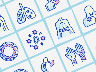 Asthma | 16 Thin Line Icons Set drowsiness inhaler peak flow meter healthy bronchus inflamed sputum man hand hives attack diaphragm allergen pain chest wheezing cough dyspnea icon asthma