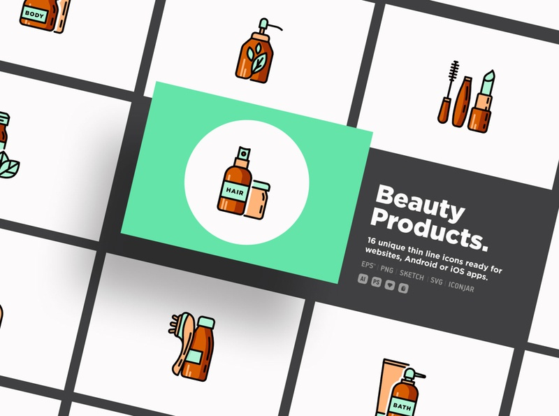 Beauty Products | 20 Thin Line Icons Set gel cream treatment makeup cosmetic organic dispenser spray glass bottle care skin product shop beauty set line illustration vector icon