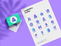Logistics | 16 Thin Line Icons Set
