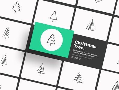 Christmas Tree | 16 Thin Line Icons Set element fir-tree set xmas winter simple minimalistic sign greeting card symbol collection celebration christmas holiday tree thin line illustration vector icon