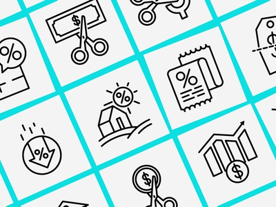 Rate Cut   16 Thin Line Icons Set discount real estate badge label reduction cost price banknote dollar scissors rate cut logo sign symbol thin set line illustration vector icon
