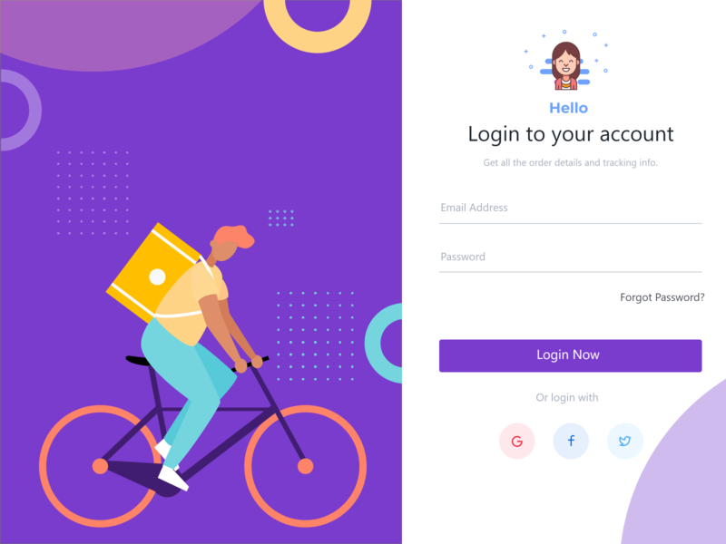 Login  TO YOUR ACCOUNT WITH CUTE ILLUSTRATION login page design