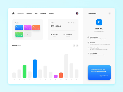 Finance Dashboard Prototype fintech site cards graph credit card finance dashboard website animation design prototype framerjs framer