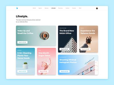 Lifestyle Blog webdesign web design design responsive minimal read cards framerjs framer lifestyle news blog