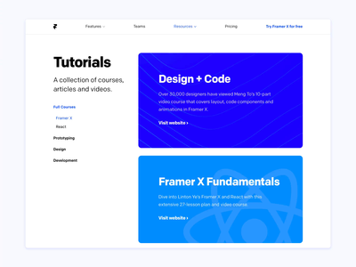 Framer Tutorials code react prototype animation scroll cards website tutorials tutorial site framerjs x framer x framer