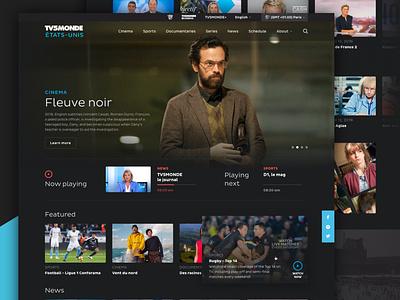 TV Channel redesign dark theme dark ui dark website tv app tv series tv shows tv show live tv tv5 french video video platform tv