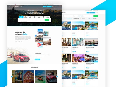 Car rental + Hotel booking website filters cards website listing page listing car rental thumbnails car rent booking vacation hotel results cuba holiday hotels landing