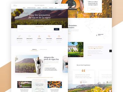 Winery experience website winery wine glass wine bottle wine website french landing