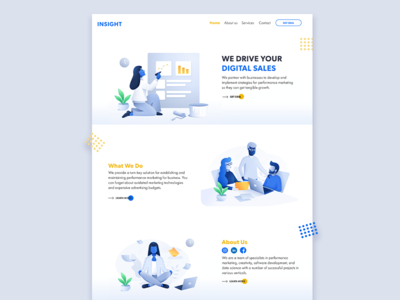 Concept of the main page of Digital Agency from San Francisco.