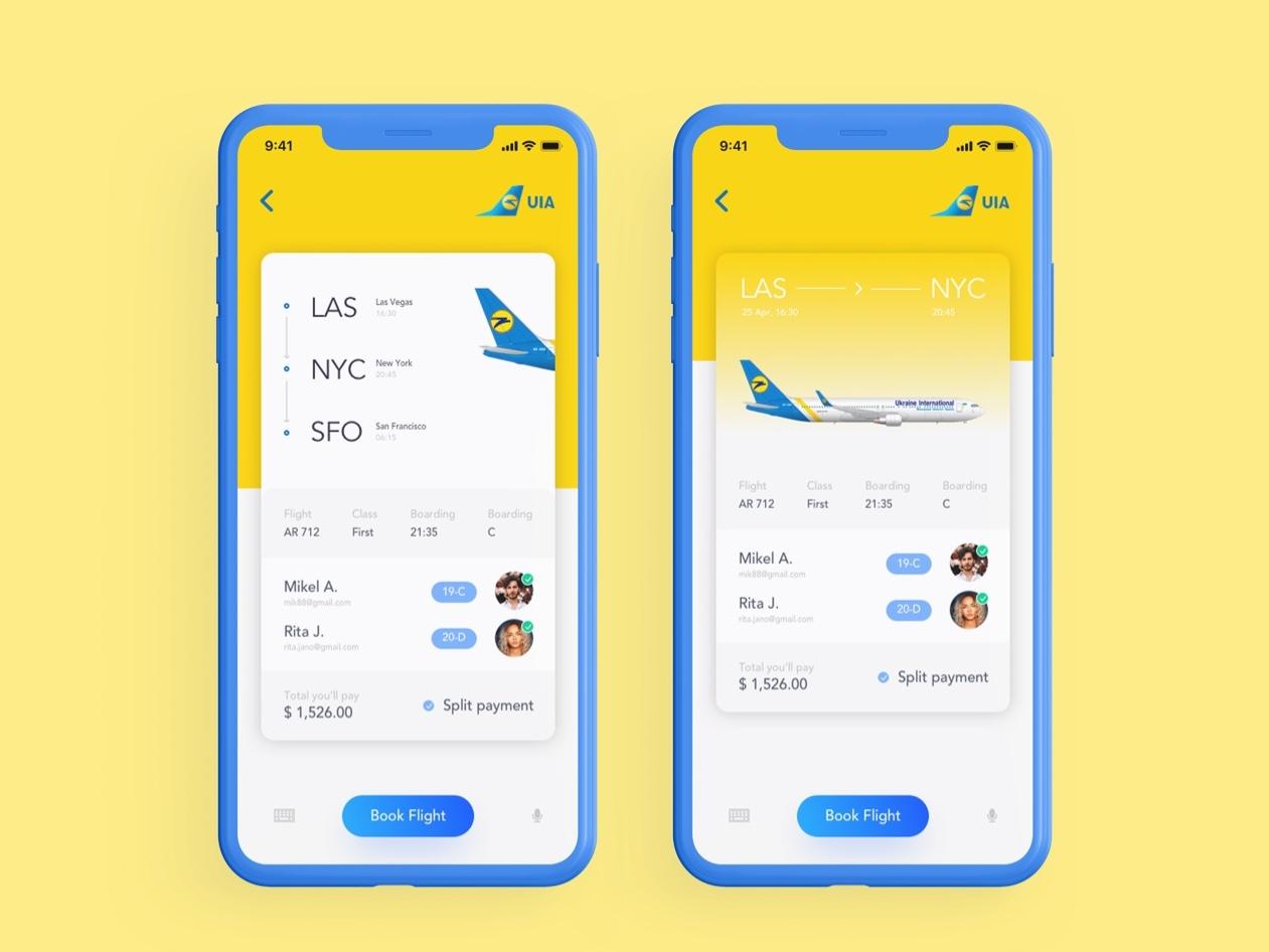 Booking Flight Ticket Ui design app ux ui