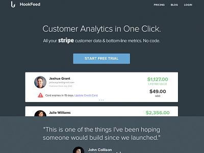 HookFeed UI ui stripe analytics ux metrics interface design homepage hook feed stream activity