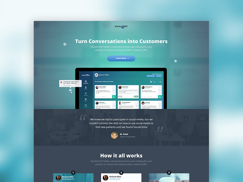 SocialCentiv Landing Page product ux ui twitter marketing offer responsive design web landing incentive trial