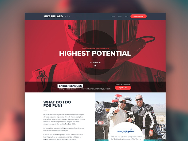 Website Redesign energy red entrepreneur design clean typography photography marketing landing web twitter facebook