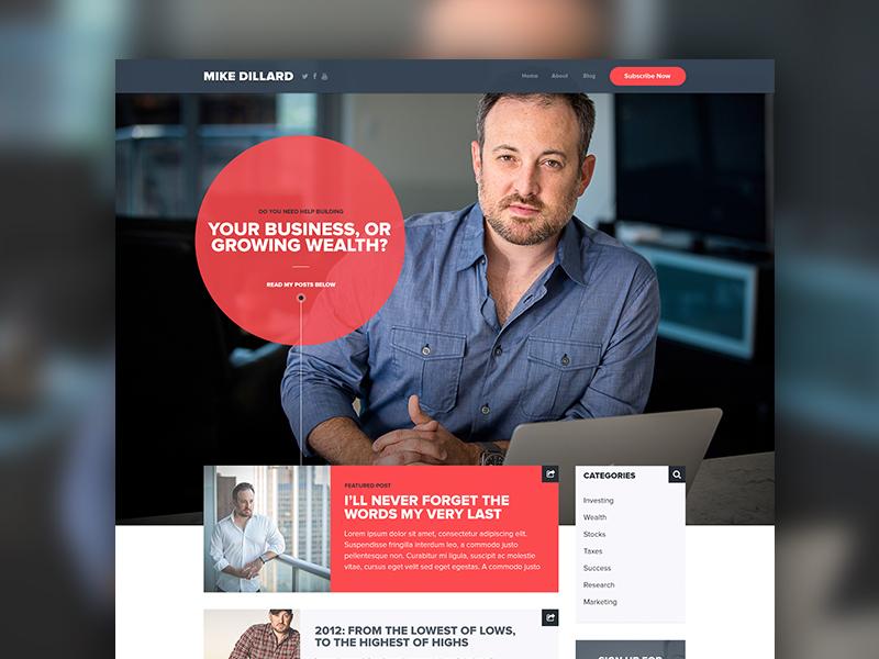 Blog Design design typography red blue clean photography web marketing landing website blog twitter