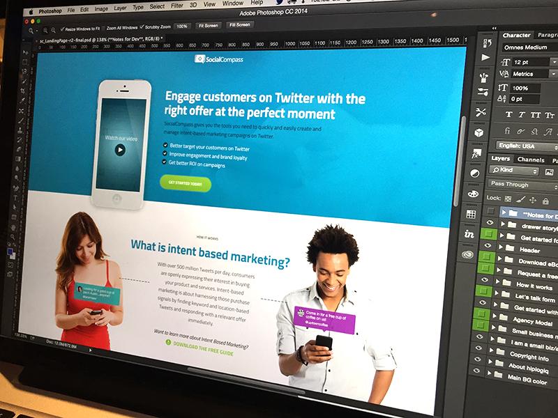 SocialCompass Landing design blue ui ux web marketing landing website photoshop photography branding button